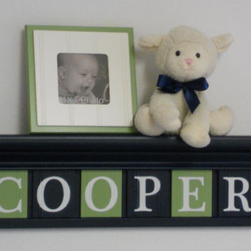 "Navy and Green Nursery Decor - Baby Boy Gift - Personalized for COOPER - 24"" Navy Blue Shelf with 6 Wood Wall Letters"