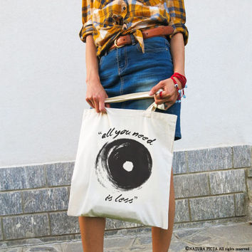 All you need is less tote bag-typography tote bag-shopping bag-tote bag-gift for mom-gift idea-abstract tote-cool tote-NATURA PICTA-NPTB105