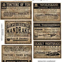 Poison Bottle Labels Halloween Witch Potion Vintage Digital Download Collage Sheet Tags Clip Art