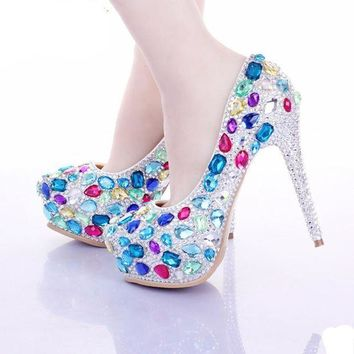 Multi Crystal Bridal Shoes