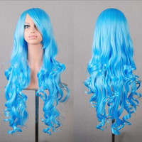 popular color gradient Cosplay animation source of multi-color long curly hair wig wind caps 80CM