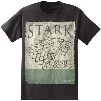 Game of Thrones House Stark Sigil Square Licensed Adult Unisex T-Shirt - Black