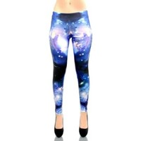 iHeartRaves Space Galaxy Print Rave Leggings Tights Yoga Pants (Small, Blue)