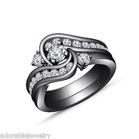 Black Gold On Sterling Silver Engagement Wedding Bridal Ring Set Round White CZ