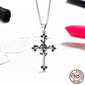 100% Real 925 Sterling Silver Rose Cross Pendant Necklaces For Women