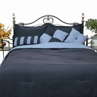 Microfiber Full Comforter Set, Denim / Smoke Blue