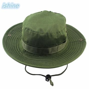 Unisex Bucket Hats Jungle Military Army Green Boonie Sun Hat Barbecue Cotton Mountain Climbing Summer Sun Hat For Hiking Fishing