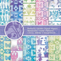 Watercolor Butterfly Garden Digital Paper, Printable Garden Backgrounds, Butterfly Watercolor Digital Papers, Scrapbook Flower Garden Paper