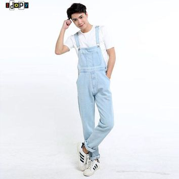 New Arrival Men`s Denim Overalls Washed Light Blue Plus Size Jeans Jumpsuit For Men S-5XL