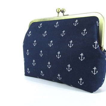 Navy clutch - Anchor clutch purse  - Navy red white Bag -  Gift for her  - Nautical clutch - Frame clutch