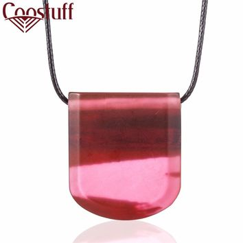 Lovely Pink Handmade Trapezoid Resin & Wooden Pendant Necklace