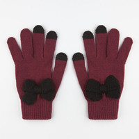 Bow Front Tech Glove Burgundy One Size For Women 24514832001