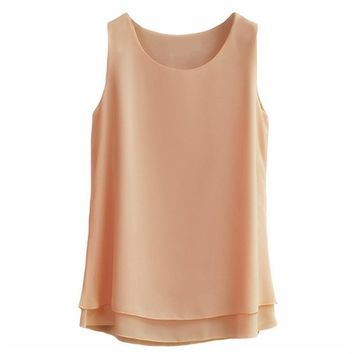 Oversized 6XL Women's shirt New arrival Sleeveless Candy colors Chiffon Blouse For Women Long Tops Summer Fashion clothes