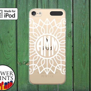 White Monogram Modern Frame Line Art Cute Tumblr Custom Clear Case For iPod Touch 5th Generation and iPod Touch 6th Generation iPod 5 iPod 6