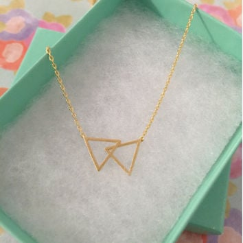 SALE - Gold Double Triangle Dainty Necklace, Women's Necklace, Danity Necklace, Minimalist Necklace, Bridesmaid Gift, Birthday Gift