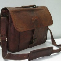 Leather Briefcase Men Messenger Bags Laptop Bag Macbook Case Brown Leather Satchel Attache Vintage retro look
