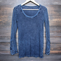 acid wash ski lodge cuff thermal top (more colors)