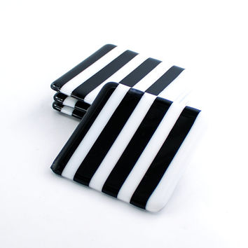 Black and White Stripe Drink Coasters, Fused Glass, Set of 4, Retro Barware, Bar Accessories, Tabletop Decor, Cool Gifts for Guys