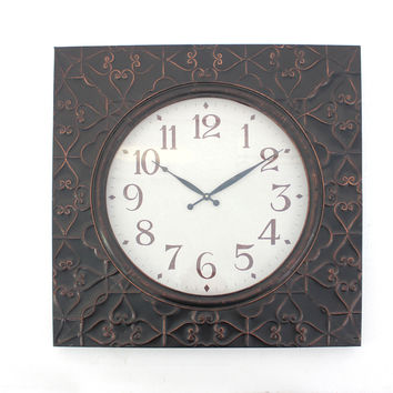 Vintage Square Brass Metal Wall Clock