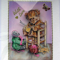 Knitting Lesson Teddy Bear Hand-Crafted 3D Decoupage Card - With Love (1643)