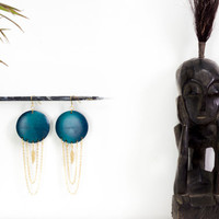 Big round wood, chandelier earrings by See Rue. Brass feather. Handmade turquoise wood button earrings. lead and nickel free