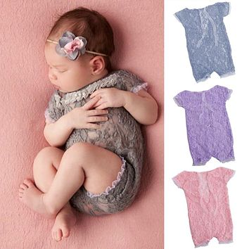 Newborn Baby Girls Tulle Embroidery Lace Rompers Photography Props Jumpsuits