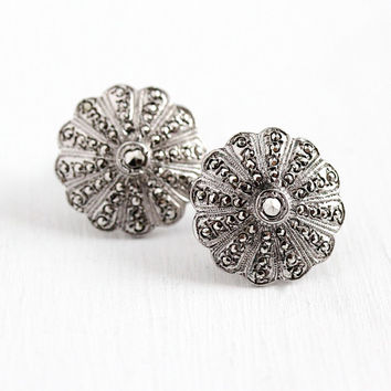 Sterling Silver Earrings - Vintage Art Deco Marcasite Screw Backs - 1930s Flower Fan Motif Clip On Sparkly Stone Milgrain 30s Floral Jewelry