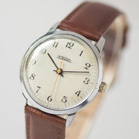 Classical men's watch Russian wristwatch silver brown shades watch round watch USSR