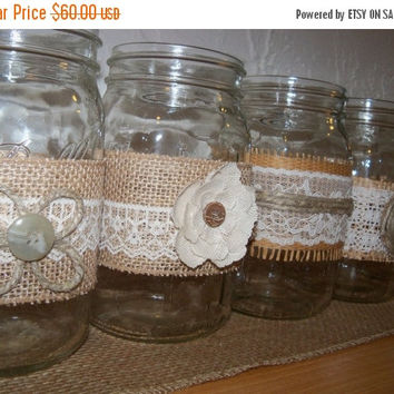 ON SALE Rustic Mason Jars / Burlap and Lace Wedding Decor / 10  Shabby Chic Jars / Country Wedding Decor