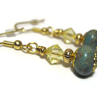 Yellow and Turquoise Blue Green Beaded Earrings Gold Plated Dangle Drop Made with Czech and Swarovski Beads Pastel Spring Jewelry Ladies