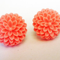 Peach Chrysanthemum earrings, peach earrings, post earrings, flower earrings, floral jewelry earrings, floral earrings, coral, small
