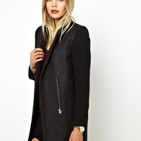 BA&SH Zip Detail Crombie Coat with Knitted Sleeve