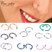 Fashion Fake Septum Medical Titanium Nose Ring Piercing Silver Gold Body Clip Hoop For Women Girls Septum Piercing  Jewelry 8pcs