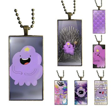 EJ Glaze For Girls Gifts Adventure Time Lumpy Space Oh My Glob Necklace Fashion Long Chain With Rectangle Necklace Jewelry