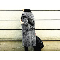 "Hooded Sweater Knit Cardigan Jacket Coat "" ADIDAS"""
