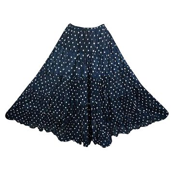 Mogul Interior Women's Flare Skirt Blue Polka Dots Broomstick Long Retro Skirts L: Amazon.ca: Clothing & Accessories