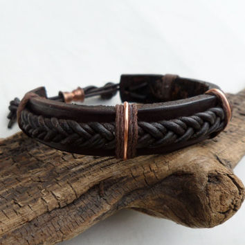 Men's Braided Leather Bracelet, Men's Leather Bracelet, Men's Copper bracelet, Copper Bracelet, Leather Bracelet