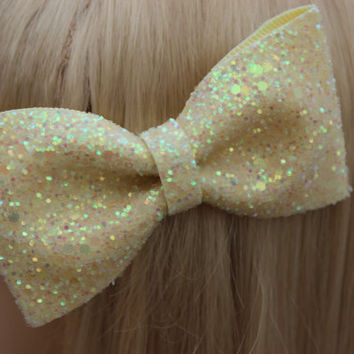 Pastel Lemon Yellow Glitter Hair Bow Sparkly Cute Kawaii Glitter Bow