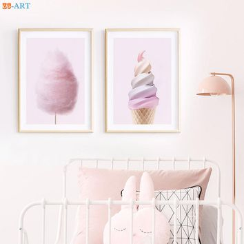 Ice Cream Fairy Floss Cotton Candy Kids Room Posters Pink Wall Art Canvas Painting Girls Nursery Pictures Room Decor Framed