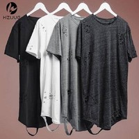 HZIJUE alibaba streetwear hipster men clothes kanye west clothing mens curved hem ripped tee shirts extended distressed t shirt