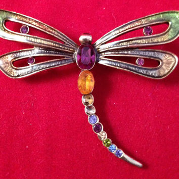 Monet Art Nouveau Enamel & Crystal Dragonfly Brooch antique style colorful Exquisite Vintage