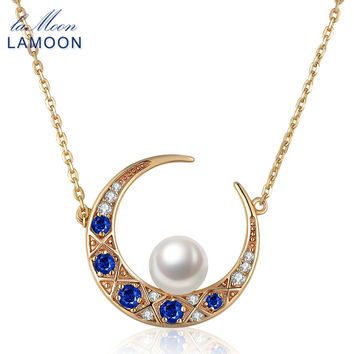 LAMOON 14K Yellow Gold Moon Design Pendant Necklace For Women Natural Freshwater Pearl 925 Sterling Silver Fine Jewelry NI006