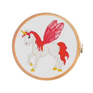 Fabulous unicorn with wings and golden hooves - cross stitch pattern - children room girls dreams magical animals gift modern baby