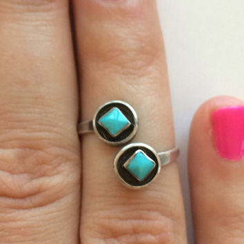 Vintage Navajo Sterling Silver Bypass Ring Turquoise Double shadow box with Diamond shape  Turquoise Adjustable Size 7