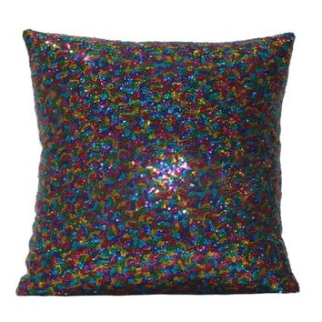 Solid Color Glitter Sequins solid color pillowcase green decorative throw pillow covers