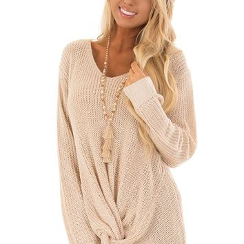 Light Taupe Long Sleeve Sweater with Front Twist
