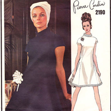 Pierre Cardin Mod Dress 1960s Vintage Vogue Paris Original Sewing Pattern 2190 Size 10 Bust 32 1/2 UNCUT FF