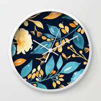 Teal and Golden Floral Wall Clock by noondaydesign