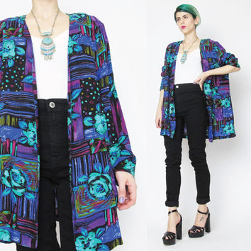 80s Mixed Floral Print Blazer Abstract Rose Slouchy Summer BlazerLightweight Womens Boyfriend Blazer Black Blue Purple Multicolor Jacket (L)