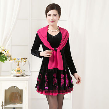 Free shipping promotion 2015 new autumn middle-aged mother velvet lace dress shawl collar fashion in older women dress for sale